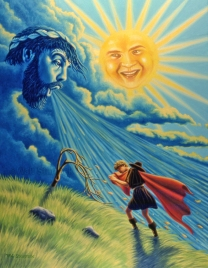 10-Aesops-Fables-book-North-Wind-and-the-Sun-story-Oil-painting-14-x-18